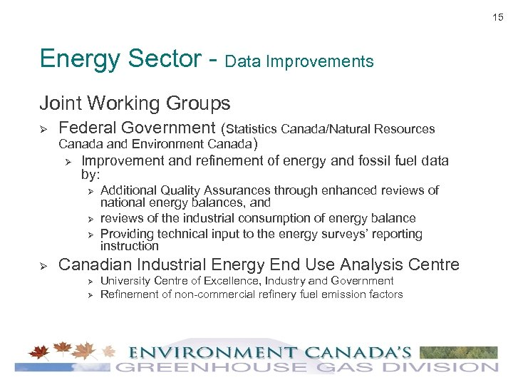 15 Energy Sector - Data Improvements Joint Working Groups Ø Federal Government (Statistics Canada/Natural