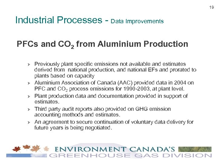 19 Industrial Processes - Data Improvements PFCs and CO 2 from Aluminium Production Ø