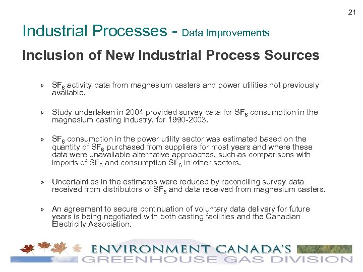 21 Industrial Processes - Data Improvements Inclusion of New Industrial Process Sources Ø Ø