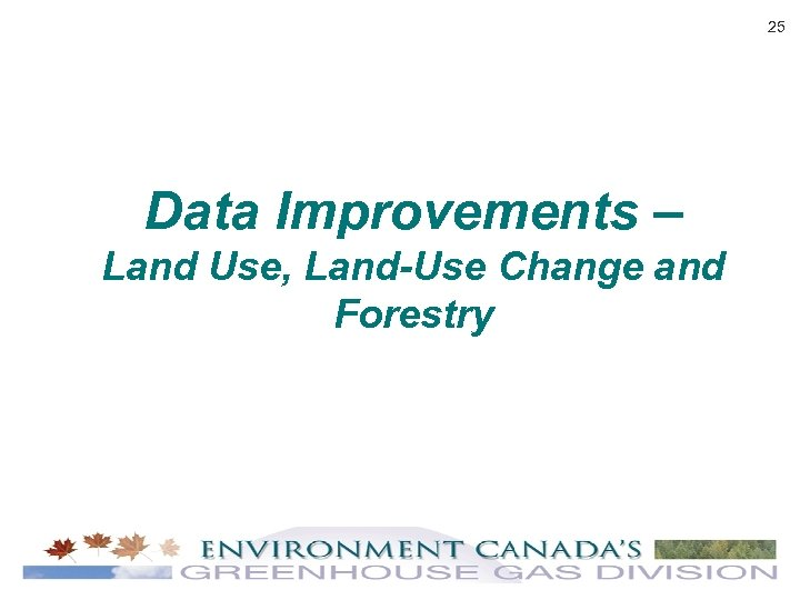 25 Data Improvements – Land Use, Land-Use Change and Forestry