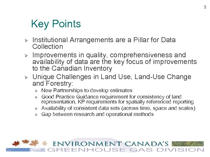 3 Key Points Ø Ø Ø Institutional Arrangements are a Pillar for Data Collection