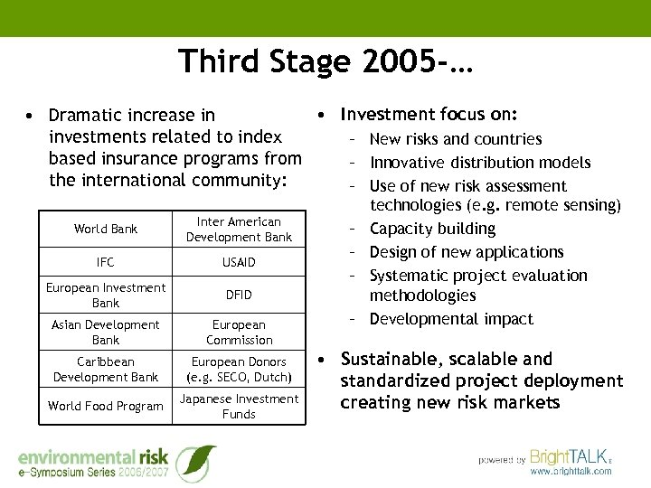 Third Stage 2005 -… • Investment focus on: • Dramatic increase in investments related