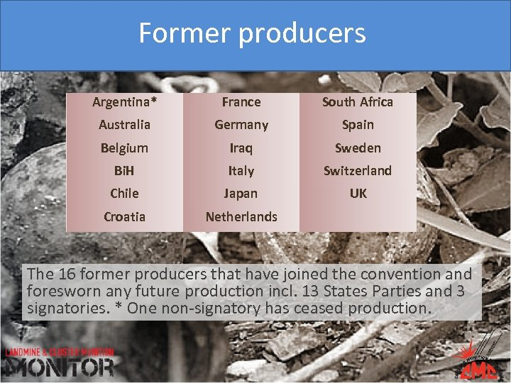 Former producers Argentina* France South Africa Australia Germany Spain Belgium Iraq Sweden Bi. H