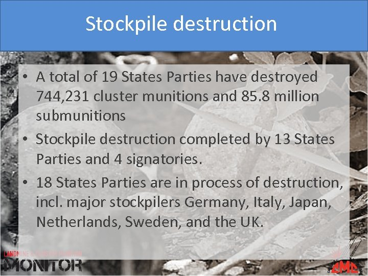 Stockpile destruction • A total of 19 States Parties have destroyed 744, 231 cluster