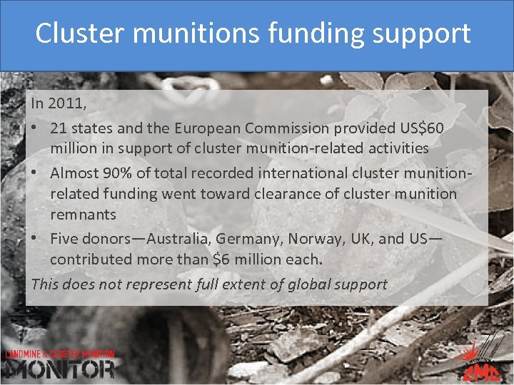 Cluster munitions funding support In 2011, • 21 states and the European Commission provided