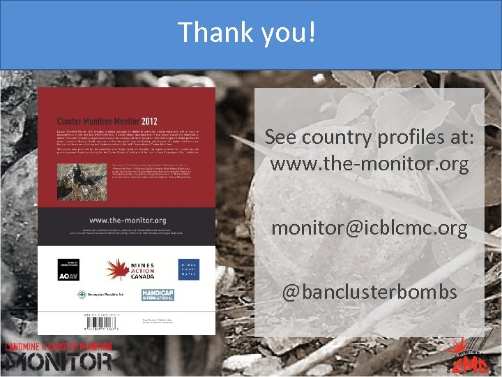 Thank you! See country profiles at: www. the-monitor. org monitor@icblcmc. org @banclusterbombs