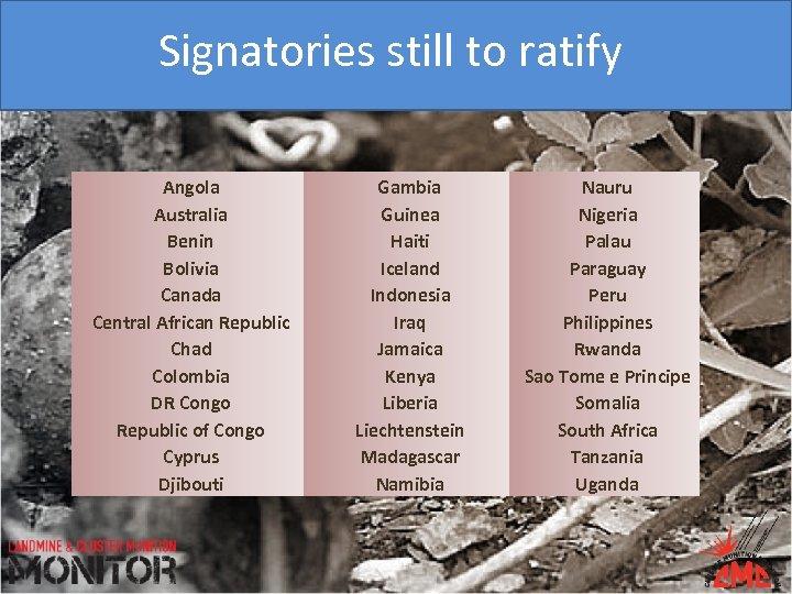 Signatories still to ratify Angola Australia Benin Bolivia Canada Central African Republic Chad Colombia