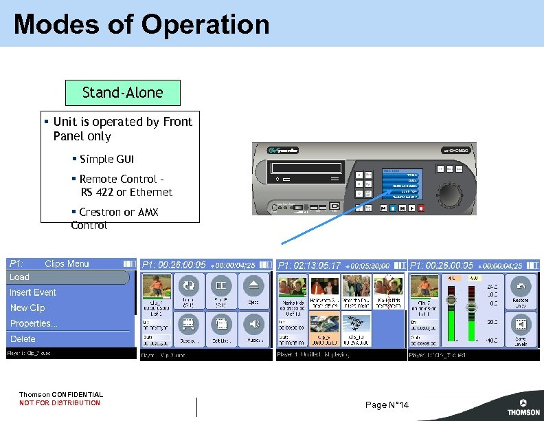 Modes of Operation Stand-Alone § Unit is operated by Front Panel only § Simple