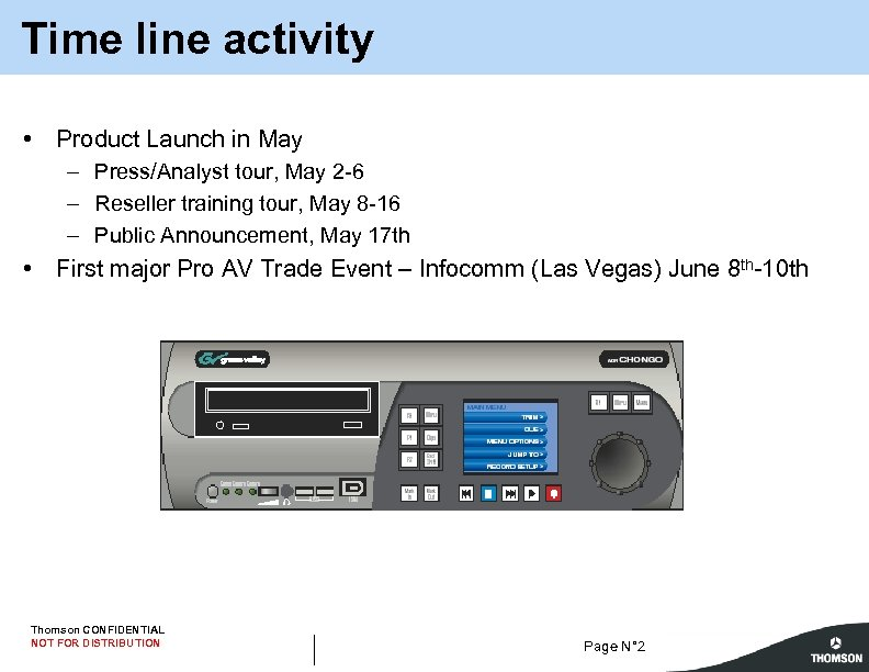Time line activity • Product Launch in May – Press/Analyst tour, May 2 -6