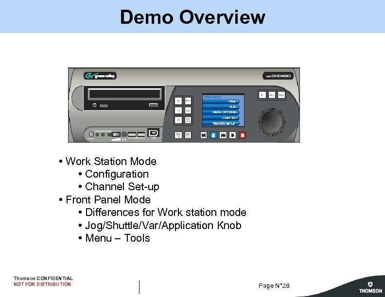 Demo Overview • Work Station Mode • Configuration • Channel Set-up • Front Panel
