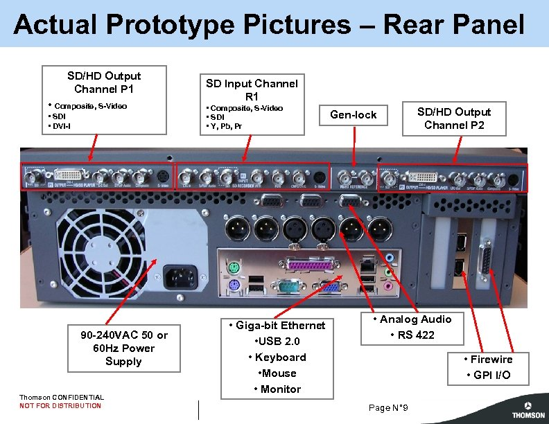 Actual Prototype Pictures – Rear Panel SD/HD Output Channel P 1 • Composite, S-Video