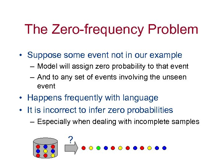 The Zero-frequency Problem • Suppose some event not in our example – Model will