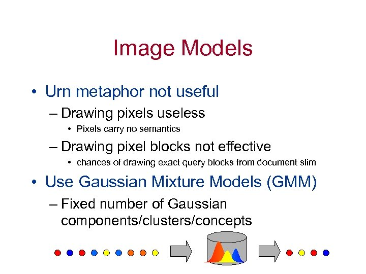 Image Models • Urn metaphor not useful – Drawing pixels useless • Pixels carry