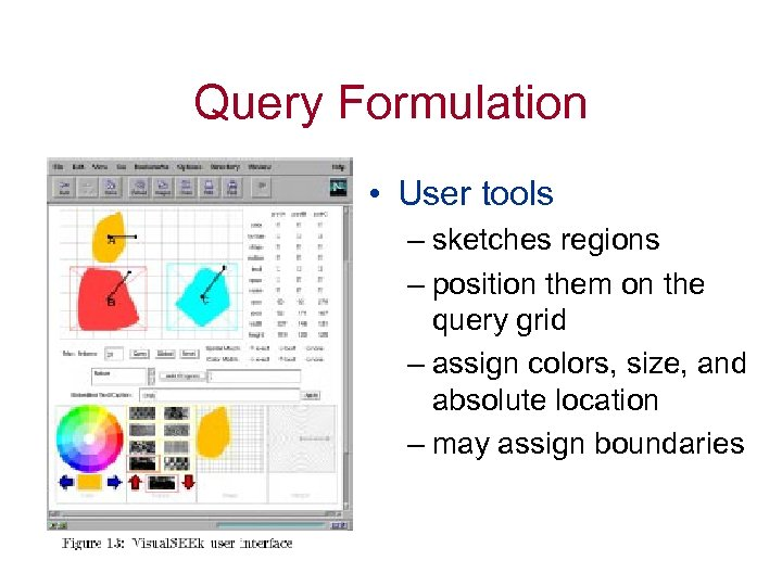Query Formulation • User tools – sketches regions – position them on the query