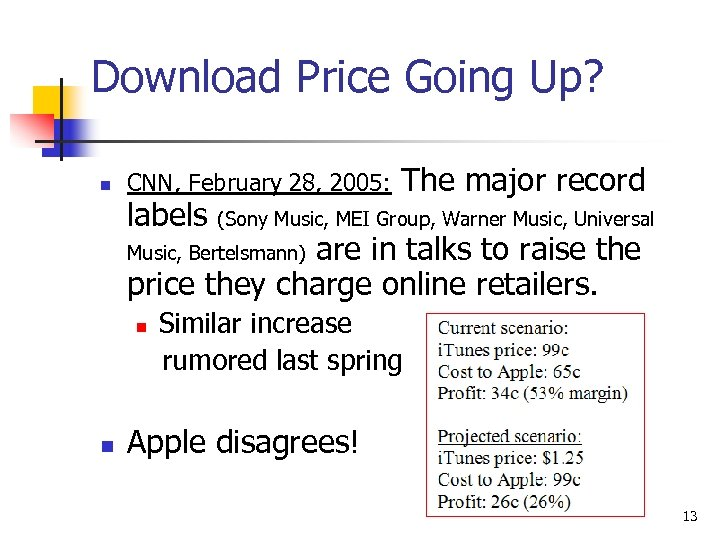 Download Price Going Up? n CNN, February 28, 2005: labels The major record (Sony