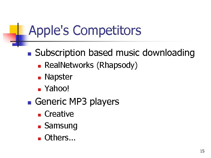 Apple's Competitors n Subscription based music downloading n n Real. Networks (Rhapsody) Napster Yahoo!