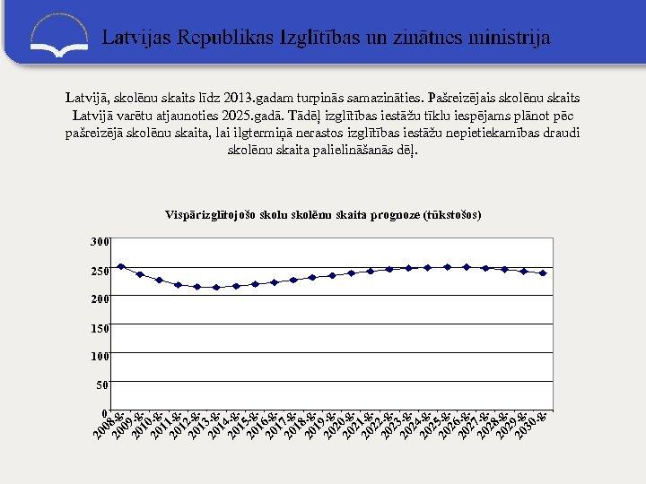 Latvijā, skolēnu skaits līdz 2013. gadam turpinās samazināties. Pašreizējais skolēnu skaits Latvijā varētu atjaunoties