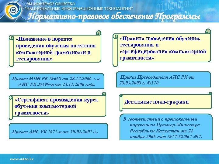 Нормативно-правовое обеспечение Программы «Положение о порядке проведения обучения населения компьютерной грамотности и тестирования» «Правила