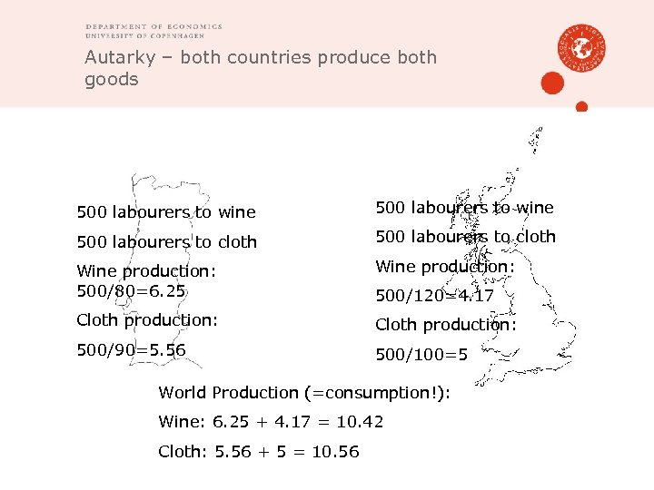 Autarky – both countries produce both goods 500 labourers to wine 500 labourers to