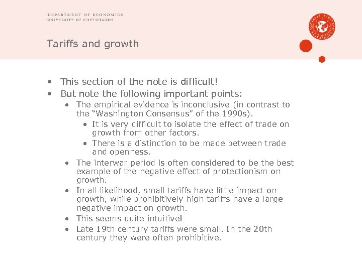 Tariffs and growth • This section of the note is difficult! • But note
