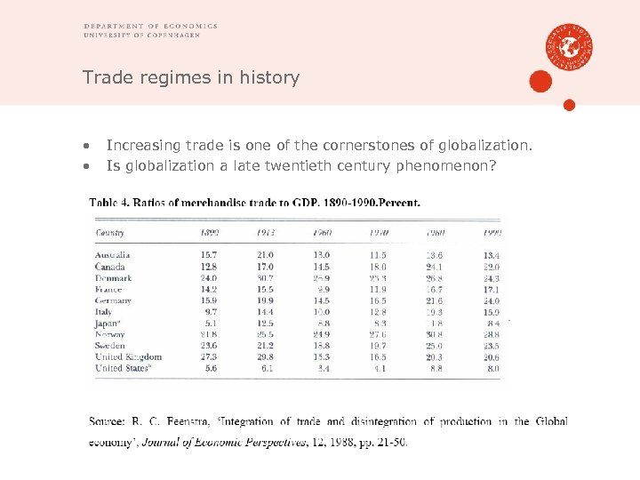 Trade regimes in history • • Increasing trade is one of the cornerstones of