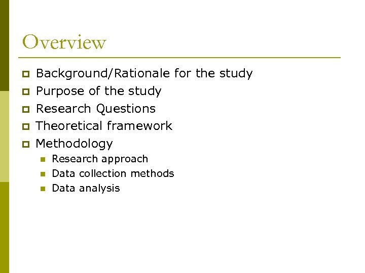 Overview p p p Background/Rationale for the study Purpose of the study Research Questions