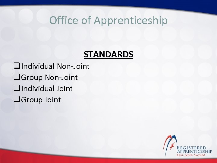 Click to edit. Apprenticeship Office of Master title style STANDARDS q Individual Non-Joint q