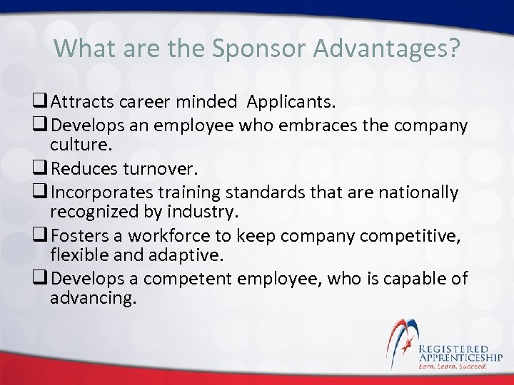 Click to edit Master title style What are the Sponsor Advantages? q Attracts career