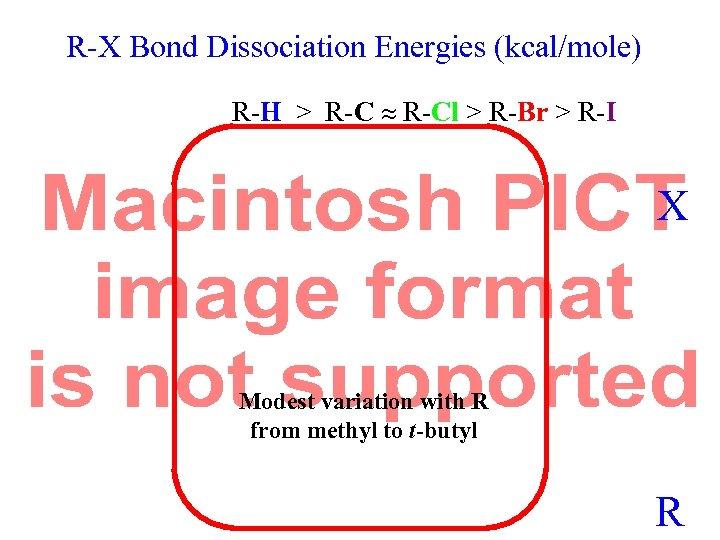 R-X Bond Dissociation Energies (kcal/mole) R-H > R-Cl > R-Br > R-I X Modest