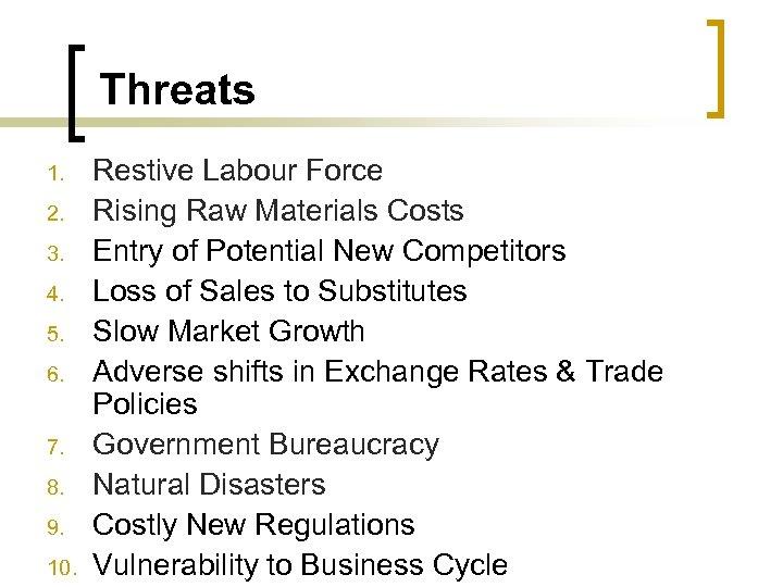 Threats 1. 2. 3. 4. 5. 6. 7. 8. 9. 10. Restive Labour Force