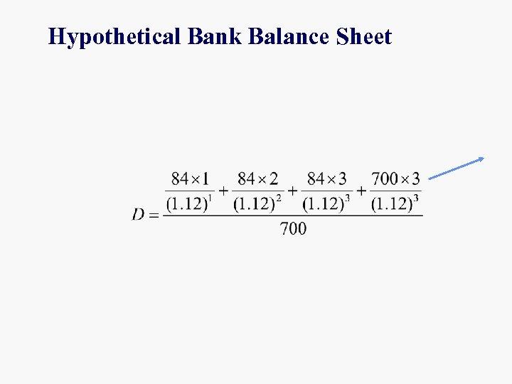 Hypothetical Bank Balance Sheet