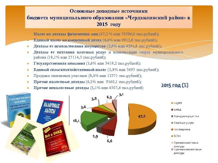 Основные доходные источники бюджета муниципального образования «Чердаклинский район» в 2015 году Налог на доходы