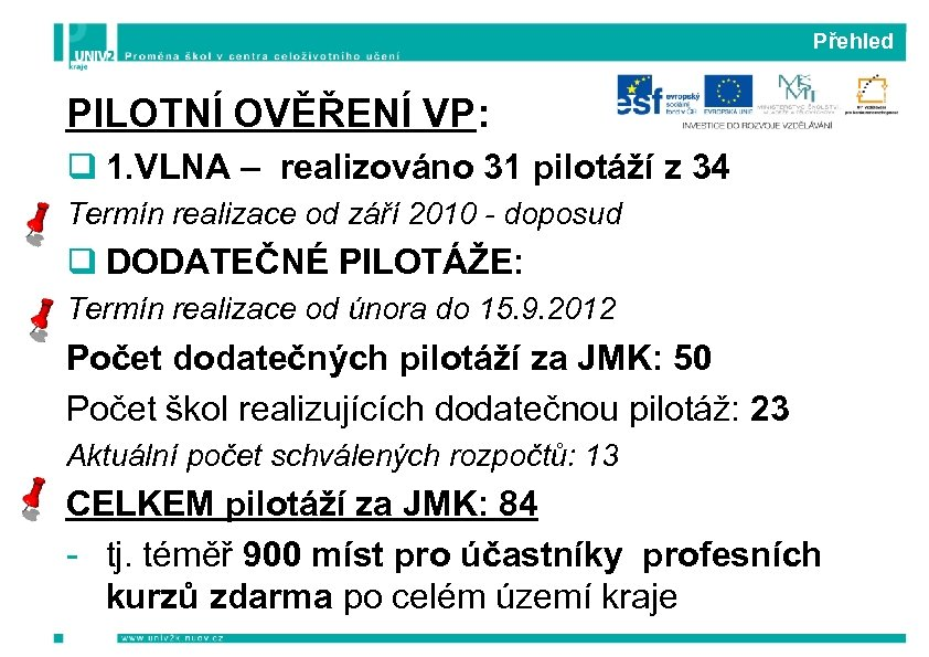 Přehled PILOTNÍ OVĚŘENÍ VP: q 1. VLNA – realizováno 31 pilotáží z 34 Termín