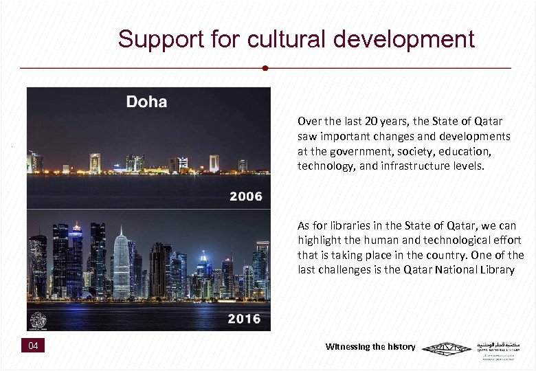Support for cultural development Over the last 20 years, the State of Qatar saw