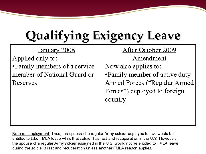 Qualifying Exigency Leave January 2008 Applied only to: • Family members of a service