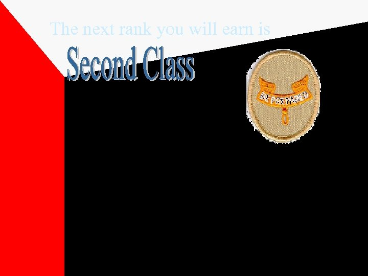 The next rank you will earn is The scroll with the Scout motto is