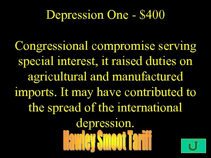 Depression One - $400 Congressional compromise serving special interest, it raised duties on agricultural