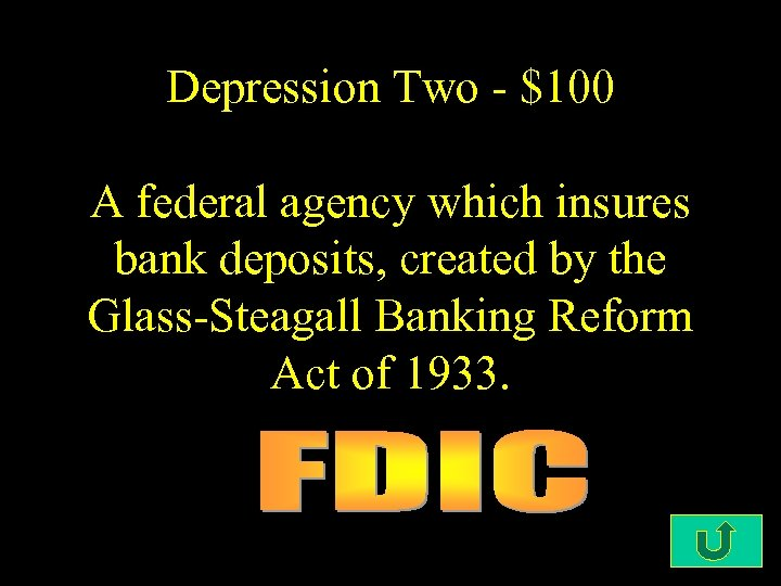 Depression Two - $100 A federal agency which insures bank deposits, created by the