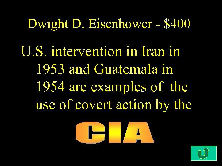 Dwight D. Eisenhower - $400 U. S. intervention in Iran in 1953 and Guatemala