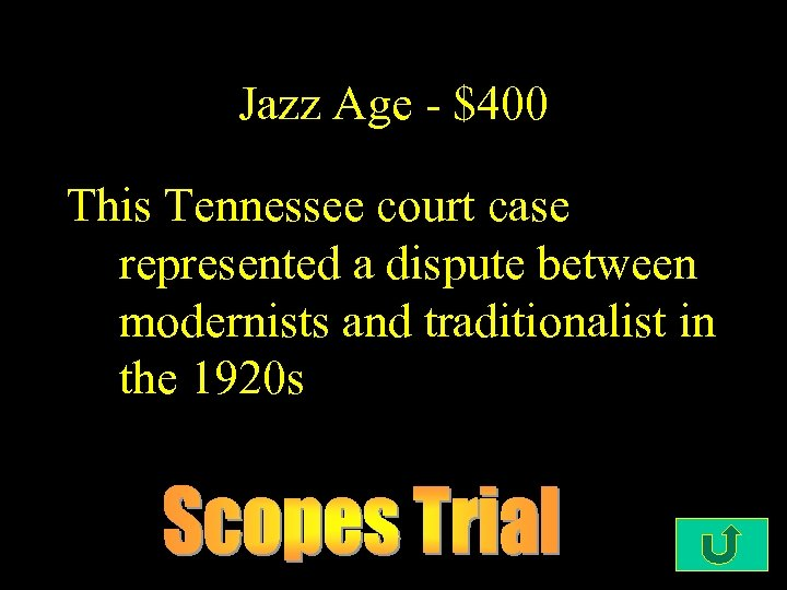 Jazz Age - $400 This Tennessee court case represented a dispute between modernists and
