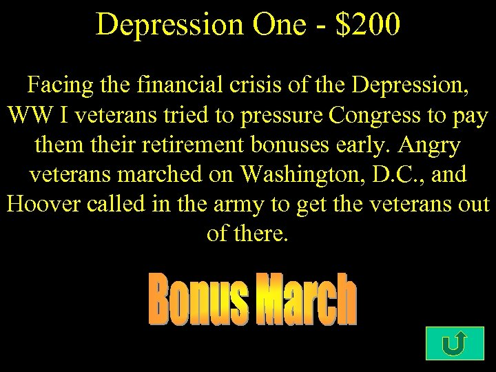 Depression One - $200 Facing the financial crisis of the Depression, WW I veterans