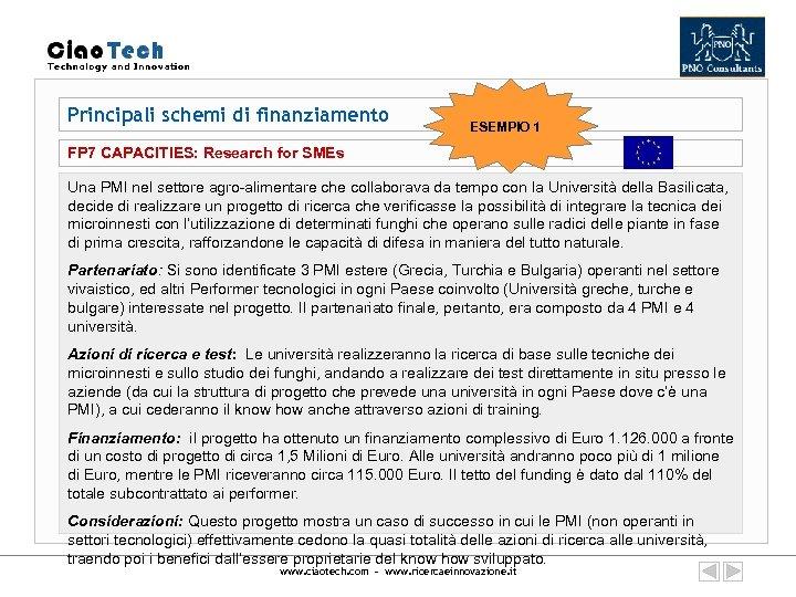 Principali schemi di finanziamento ESEMPIO 1 FP 7 CAPACITIES: Research for SMEs Una PMI