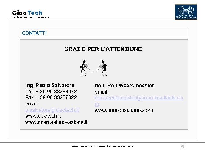 CONTATTI GRAZIE PER L'ATTENZIONE! ing. Paolo Salvatore Tel. + 39 06 33268972 Fax +