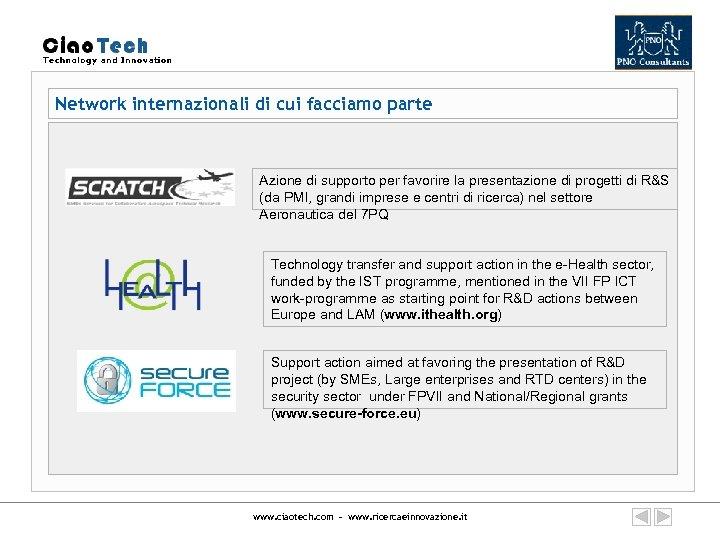 Network internazionali di cui facciamo parte Azione di supporto per favorire la presentazione di