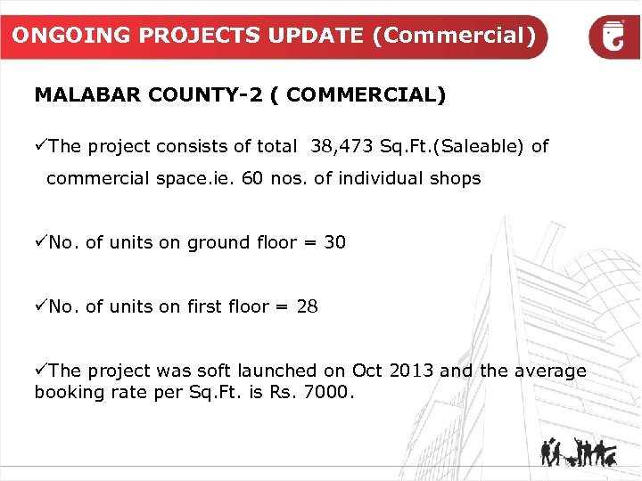 ONGOING PROJECTS UPDATE (Commercial) MALABAR COUNTY-2 ( COMMERCIAL) üThe project consists of total 38,