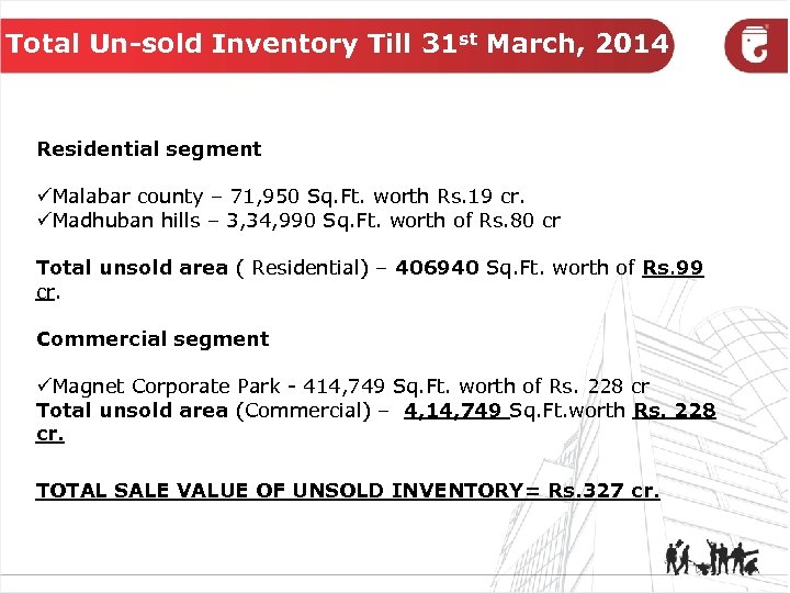 Total Un-sold Inventory Till 31 st March, 2014 Residential segment üMalabar county – 71,