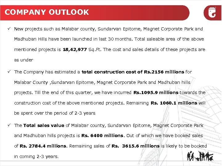 COMPANY OUTLOOK P New projects such as Malabar county, Sundarvan Epitome, Magnet Corporate Park