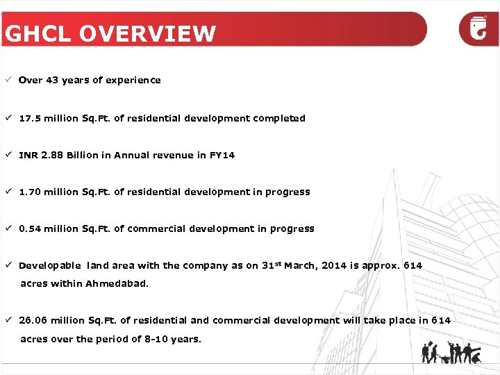 GHCL OVERVIEW ü Over 43 years of experience ü 17. 5 million Sq. Ft.