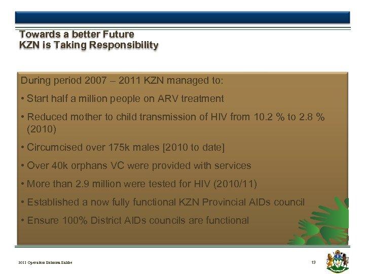 Towards a better Future KZN is Taking Responsibility During period 2007 – 2011 KZN