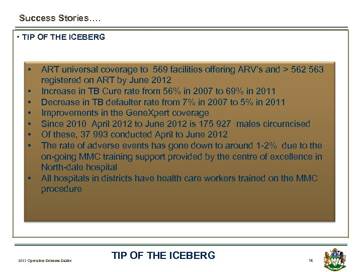 Success Stories…. • TIP OF THE ICEBERG • • ART universal coverage to 569